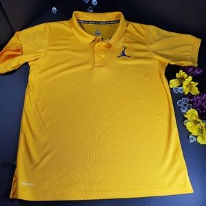 Jordan Dri Fit Yellow Short Sleeved Polo Shirt